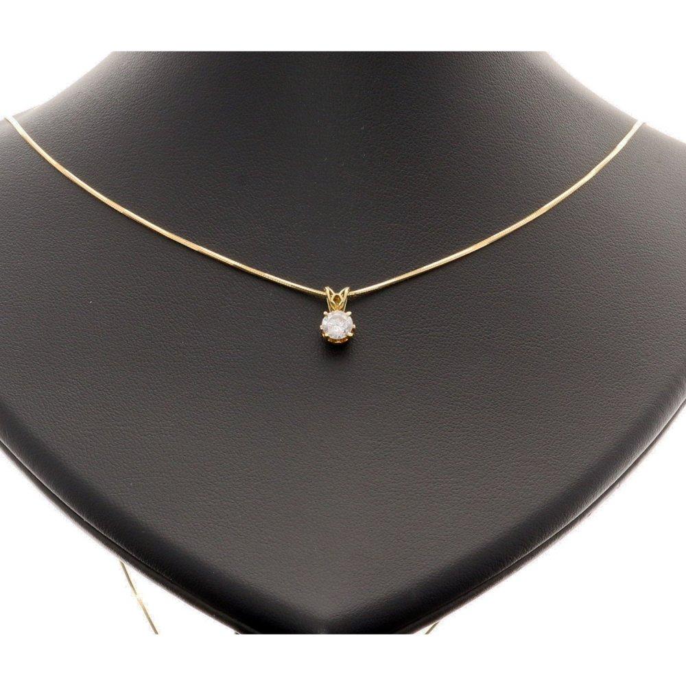 P1 P2 Diamond: 0.50ct Diamond Pendant On A 18ct Yellow Gold Snake Chain