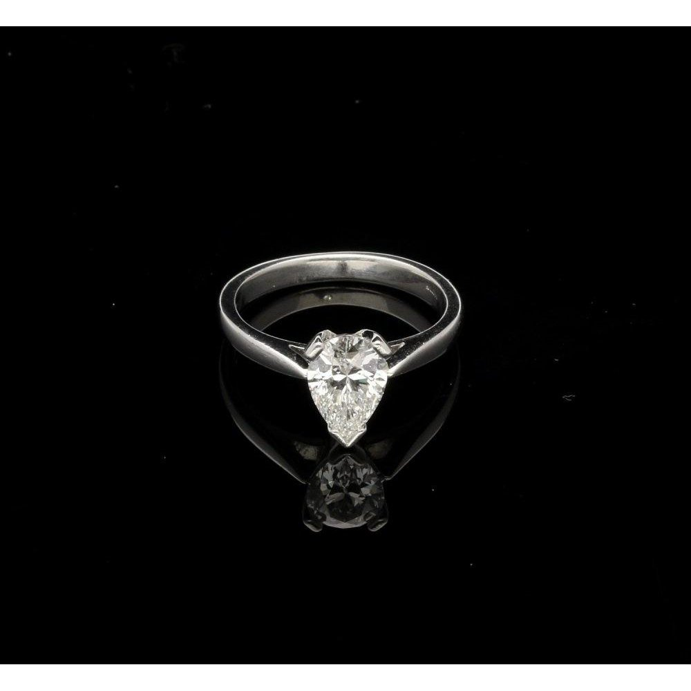 Second Hand 1ct Pear Cut Diamond Platinum Engagement Ring