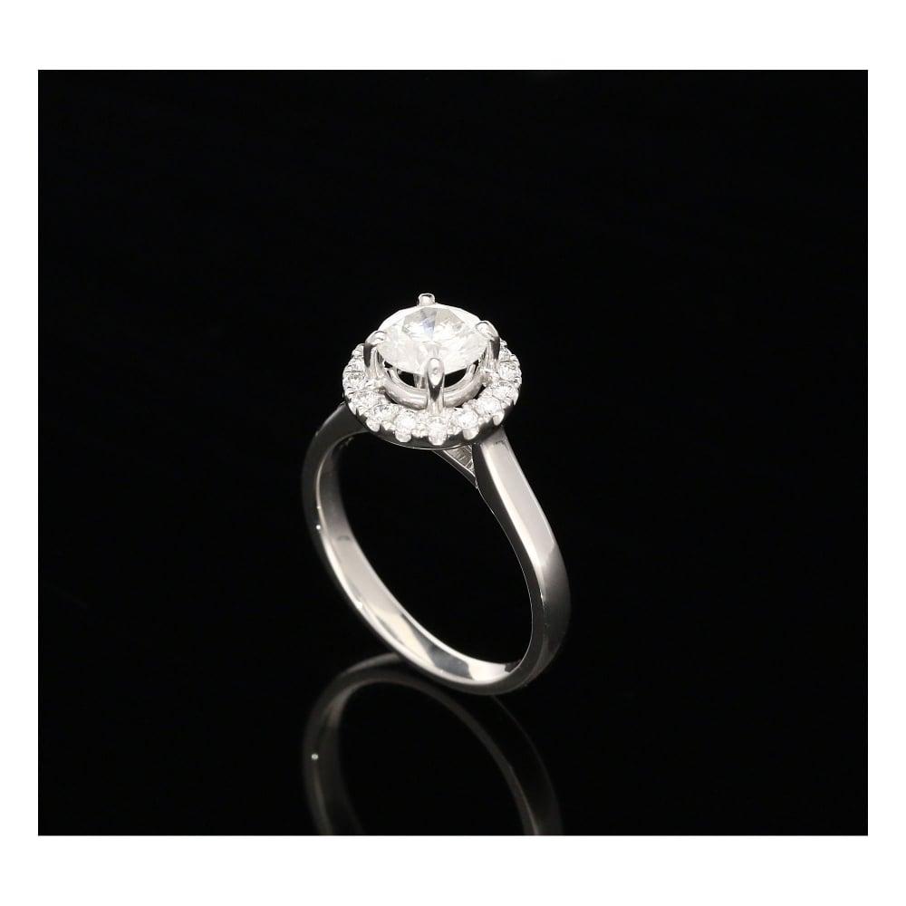 Milton s Secondhand 1 27ct Platinum Halo Engagement Ring