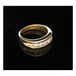 14ct Yellow Gold 5 Stone Diamond Ring - Men's - 1.00ct