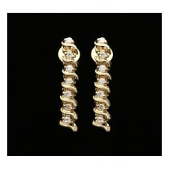 14ct Yellow Gold Diamond Drop Earrings - 0.40ct
