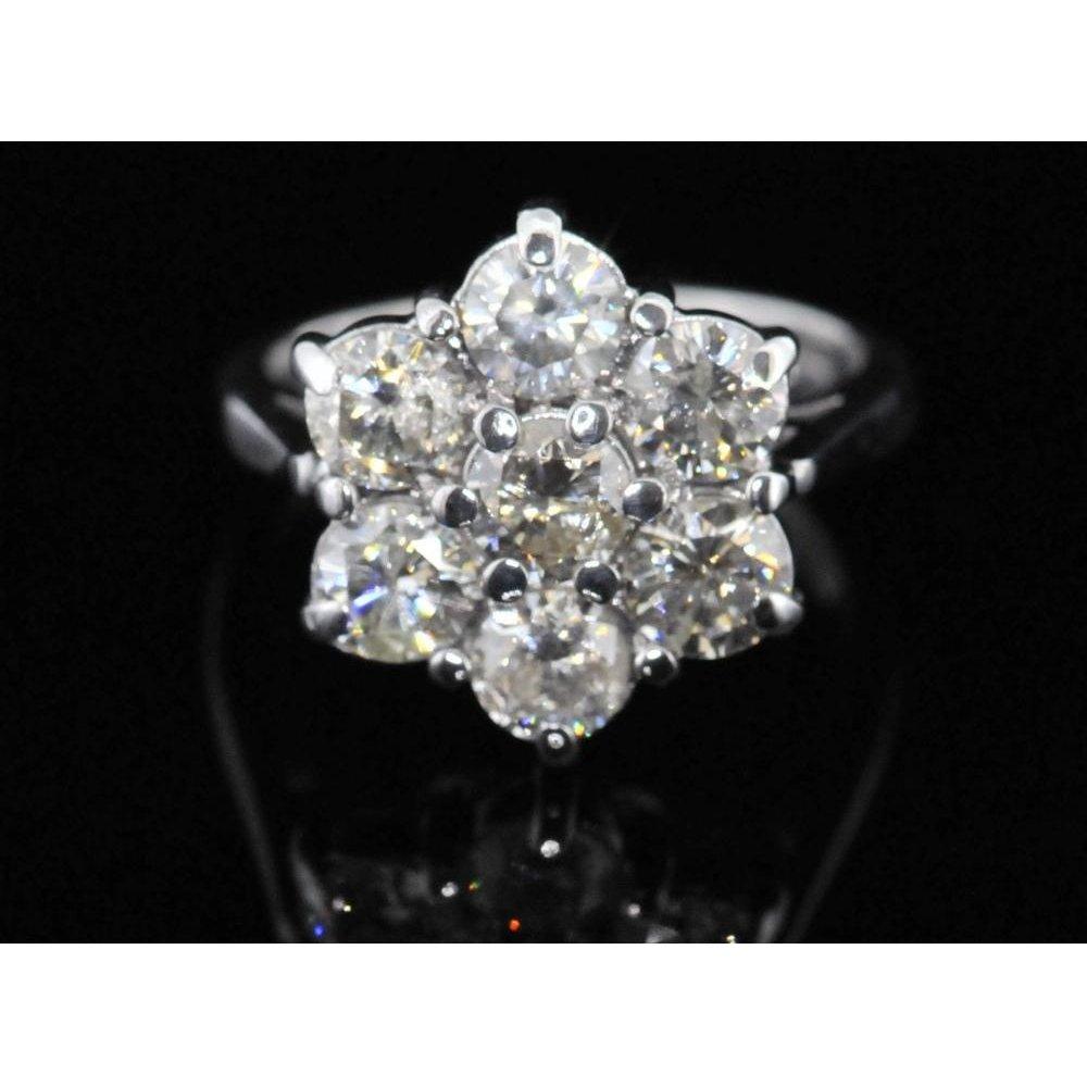 P1 P2 Diamond: Pre Owned 18ct White Gold Seven Stone Diamond Cluster Ring