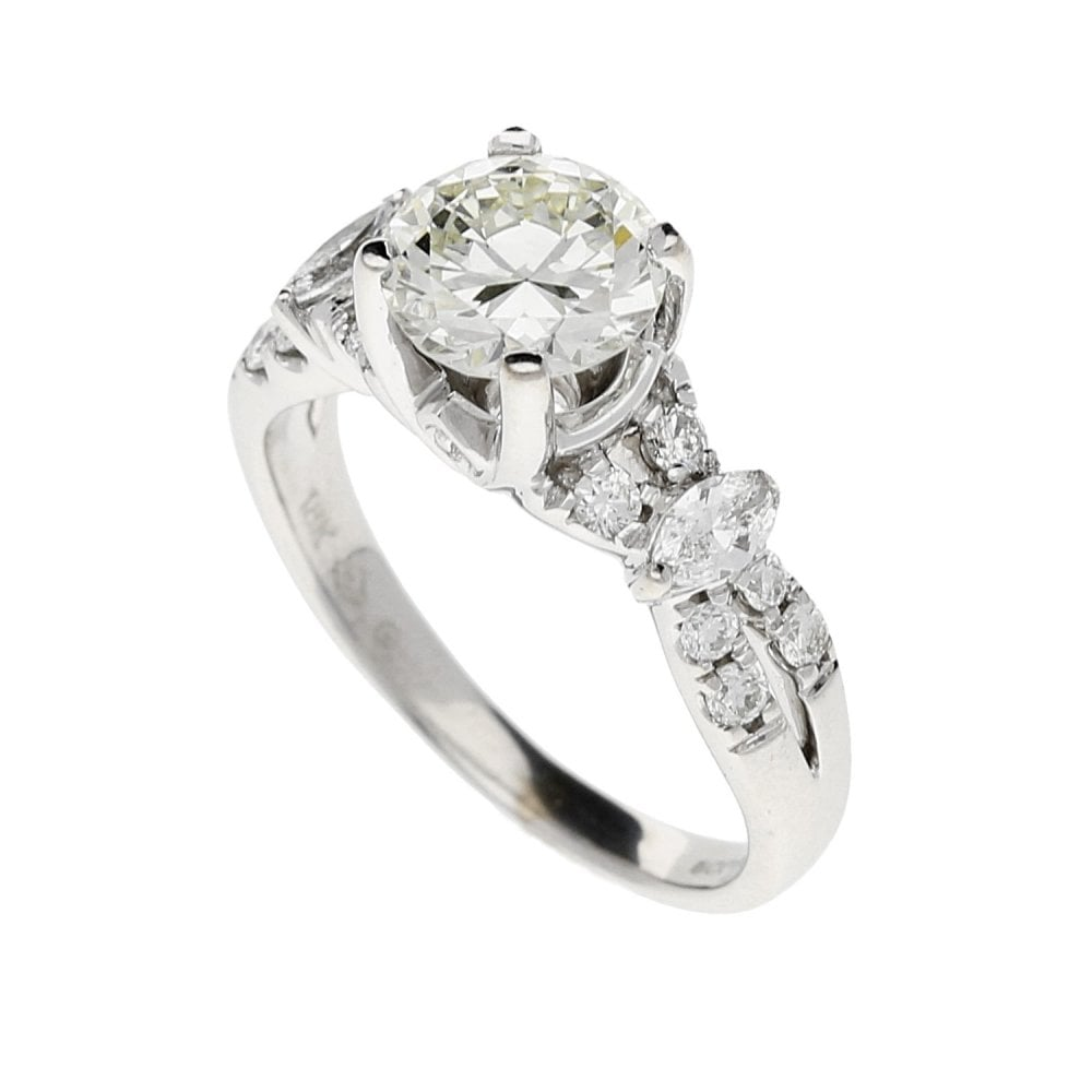18ct Modern Diamond Engagement Ring With Diamond Shoulders