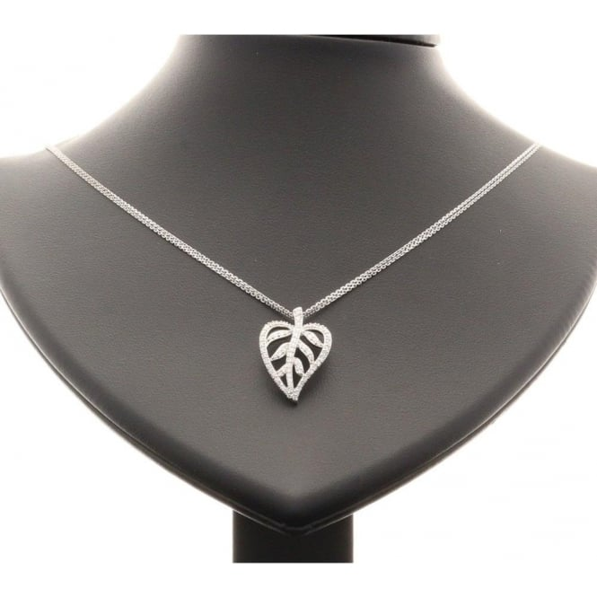 Miltons Diamonds 18ct Diamond Leaf Pendant and Chain