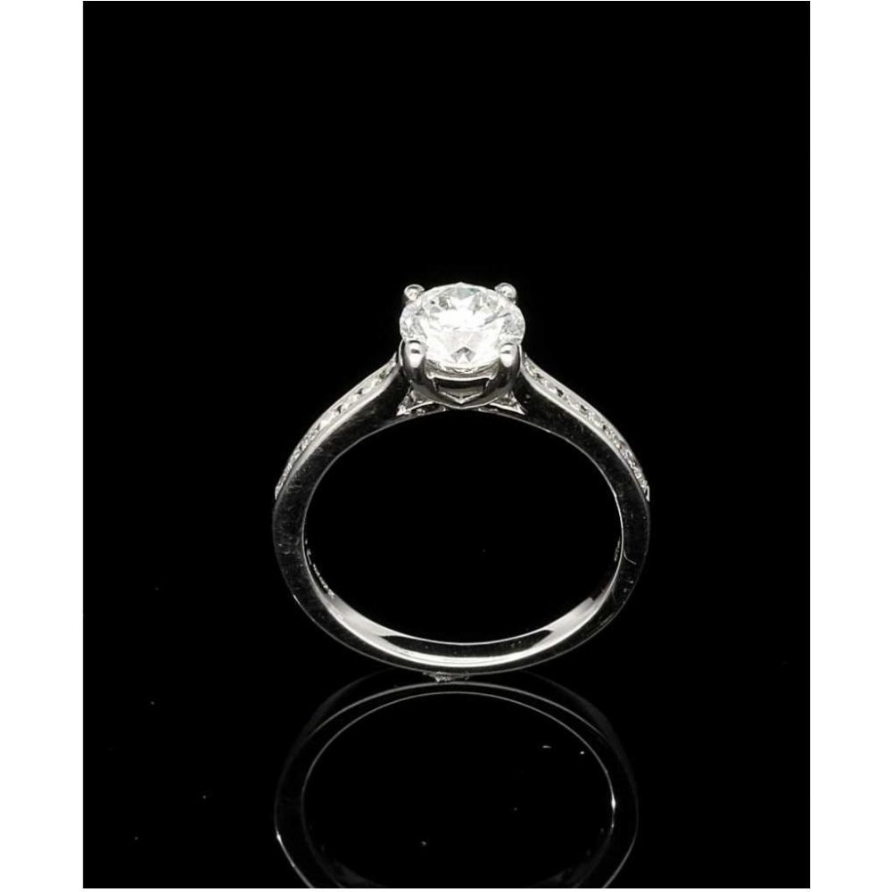 18ct White Gold Engagement Ring With Diamond Shoulders
