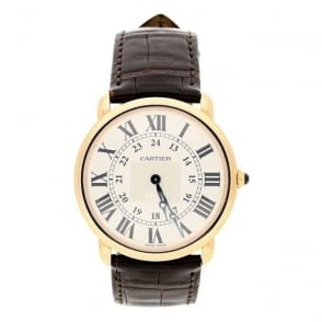 18ct Gold Second Hand Mens  Cartier Ronde 2889 Watch