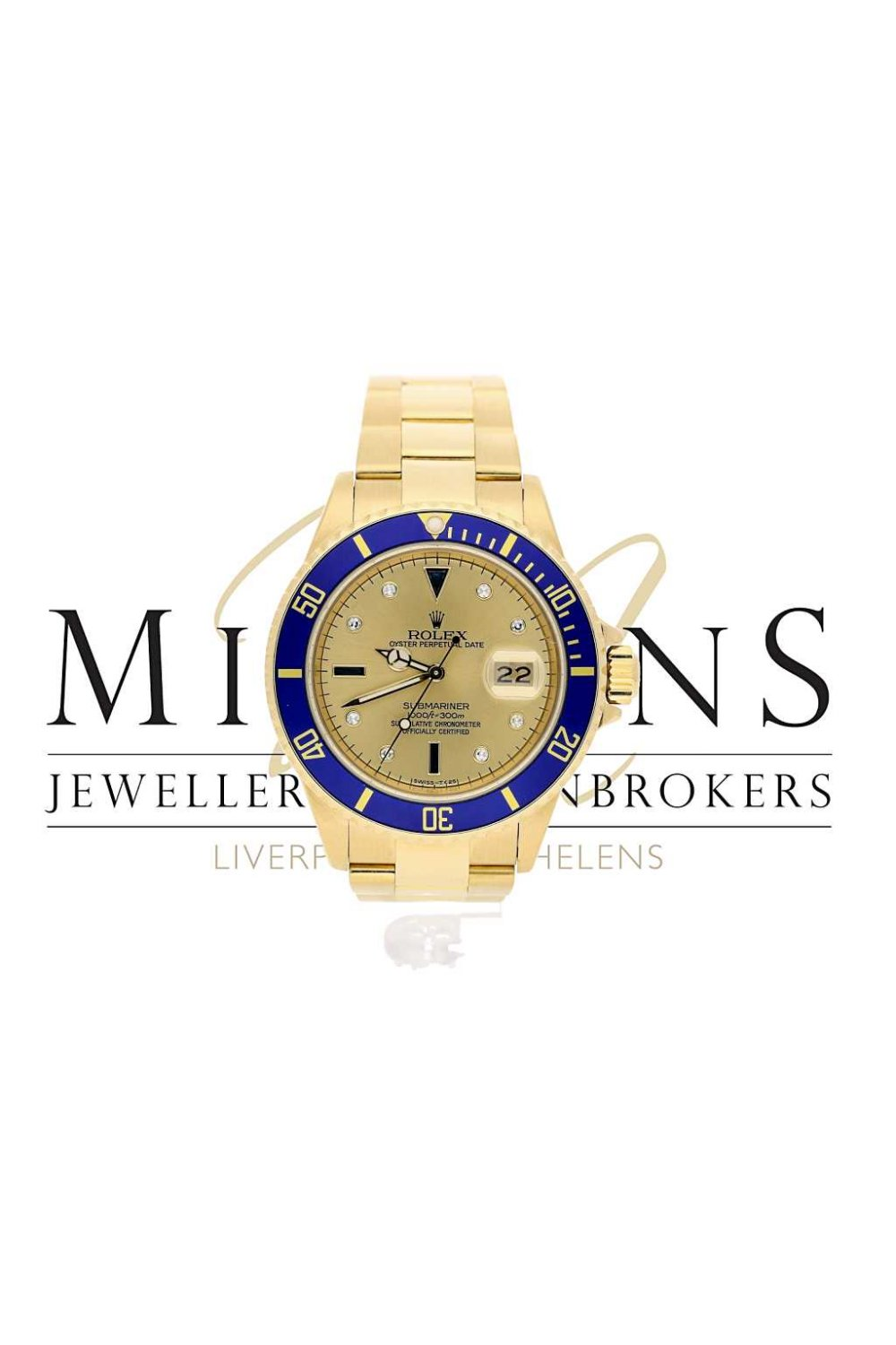 18ct gold rolex submariner 16808 sultan dial diamond and sapphire. Black Bedroom Furniture Sets. Home Design Ideas