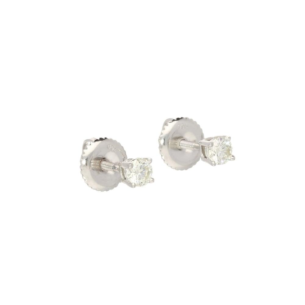 18ct White Gold 0 50ct Certified Diamond Stud Earrings