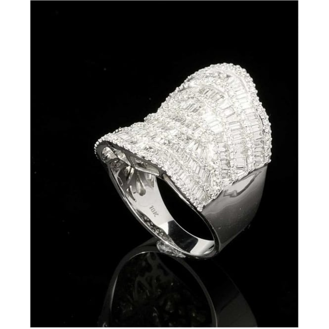 Miltons Diamonds 18ct White Gold 2.90ct Diamond Saddle Ring