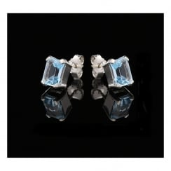 18ct White Gold 3.34ct Blue Topaz Earrings