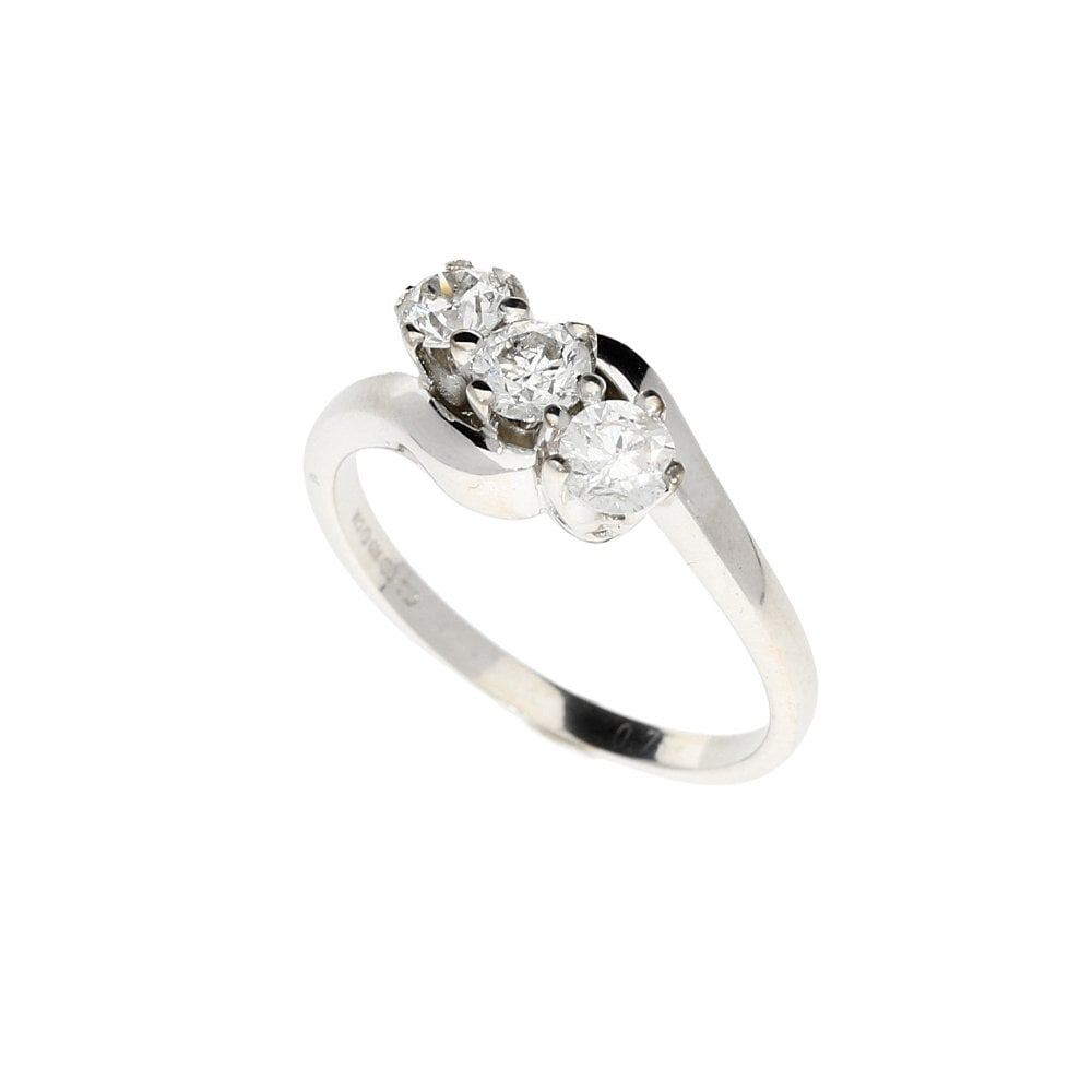 f8c010b046e453 18ct White Gold 3 Stone Diamond Ring 0.75ct | Miltons Diamonds
