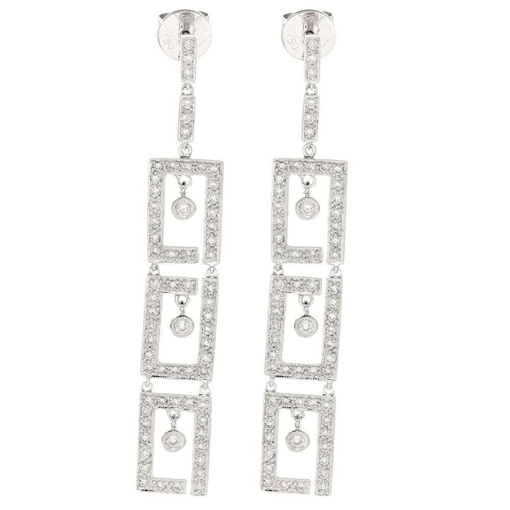18ct White Gold Art Deco Style Earrings 1 00ct Miltons Diamonds