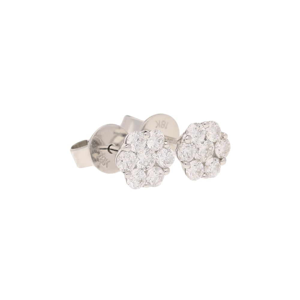 18ct White Gold Daisy Diamond Cer Earrings 0 75ct