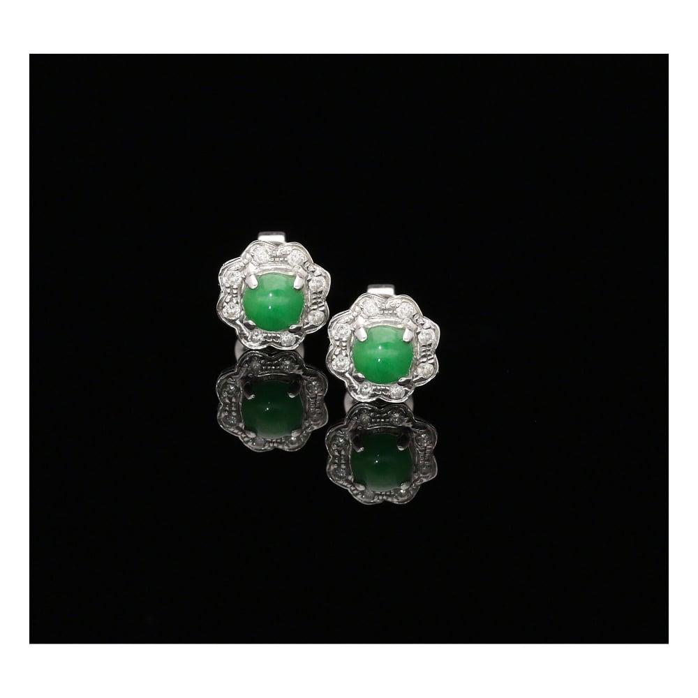 18ct White Gold Diamond And Jade Earrings