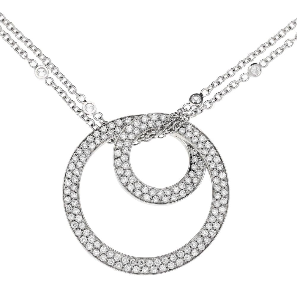 18ct white gold diamond circle pendant and diamond chain 187ct 18ct white gold diamond circle pendant and diamond chain 187ct aloadofball Choice Image