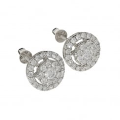 18ct White Gold Diamond Cluster Earrings - 1.82ct