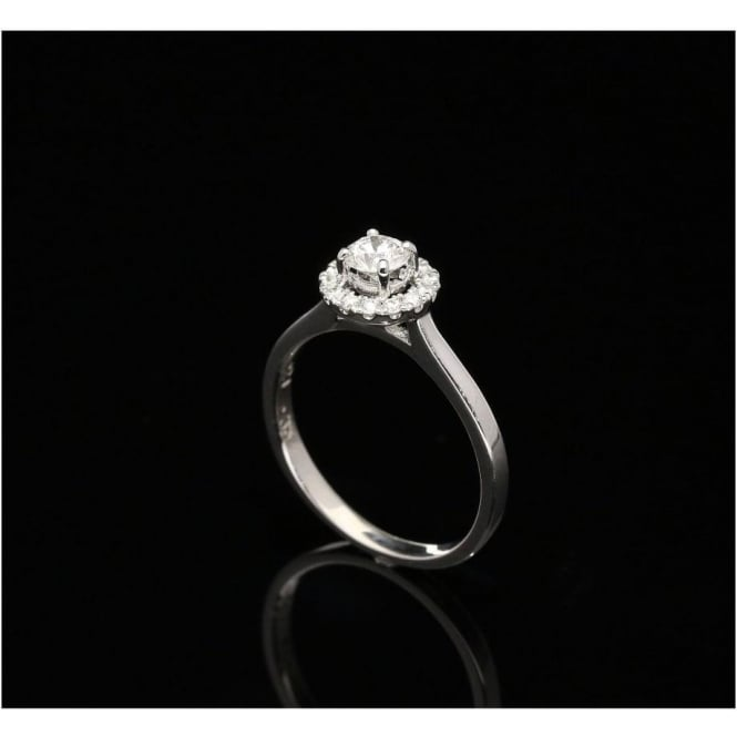 Miltons Diamonds 18ct White Gold Diamond Engagement Ring - Halo Style - 0.54ct