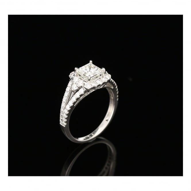 Miltons Diamonds 18ct White Gold Diamond Halo Engagement Ring - 1.39ct