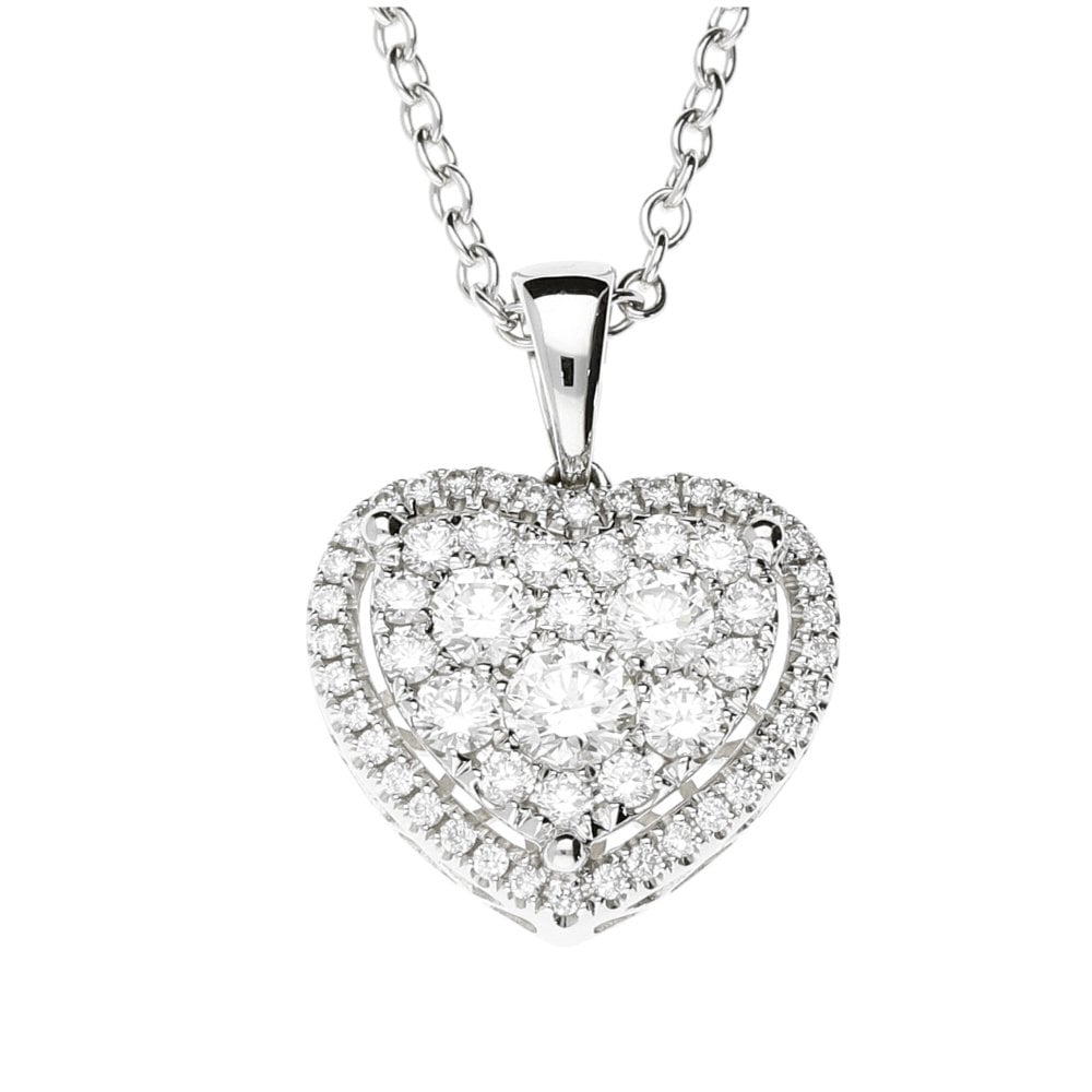18ct White Gold Diamond Heart Cluster Necklace 1.15ct ...