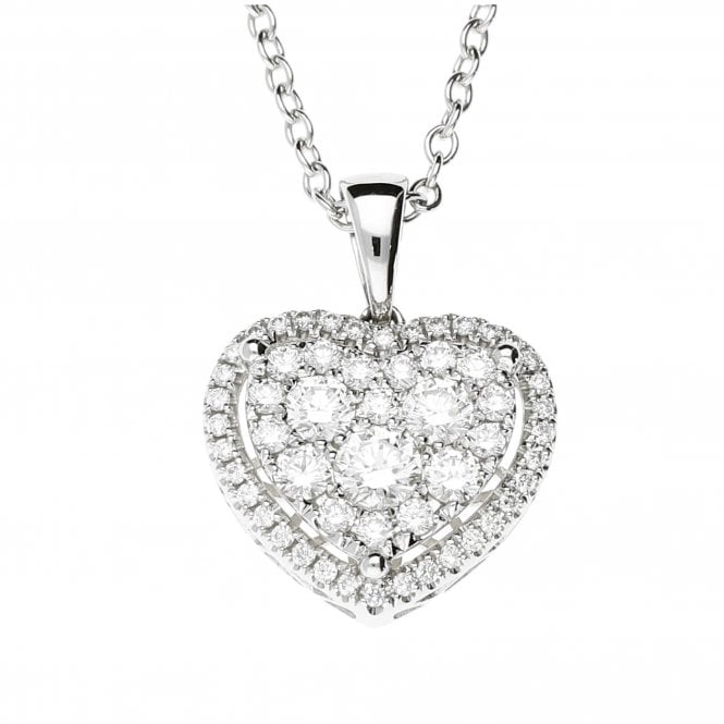 18ct White Gold Diamond Heart Cluster Necklace 1.15ct