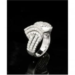 18ct White Gold Diamond Ribbon Ring 1.26ct