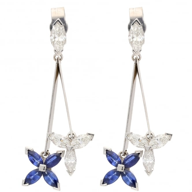 Miltons Diamonds 18ct White Gold Diamond & Sapphire Drop Earrings