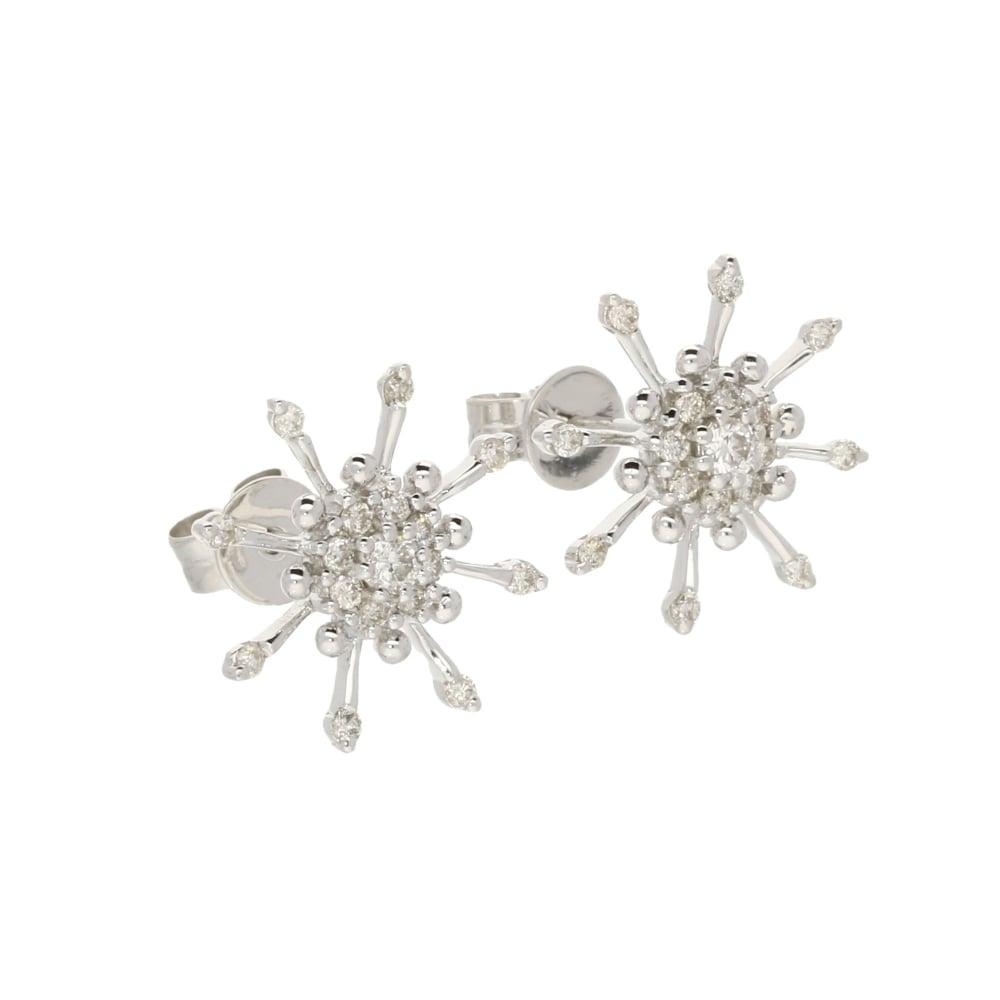 18ct White Gold Diamond Snowflake Earrings