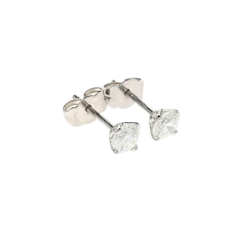Miltons Diamonds 18ct White Gold Diamond Stud Earrings 0 80ct