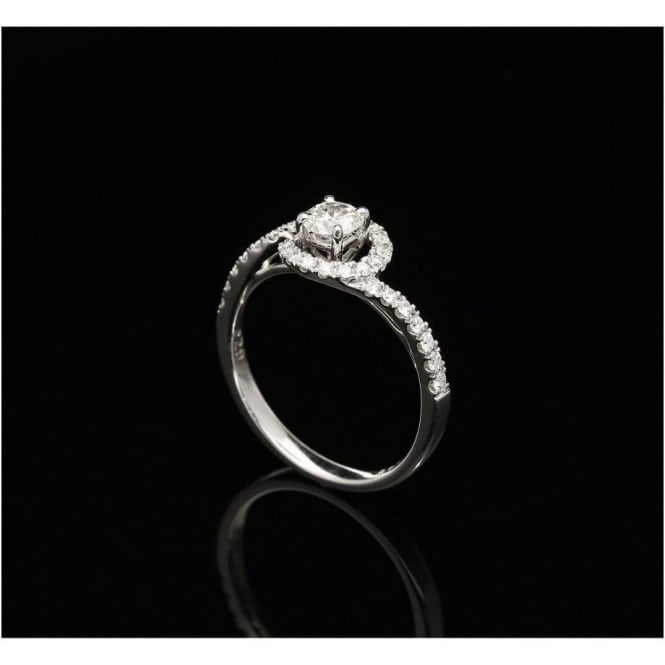 Miltons Diamonds 18ct White Gold Diamond Swirl Engagement Ring - 0.62ct