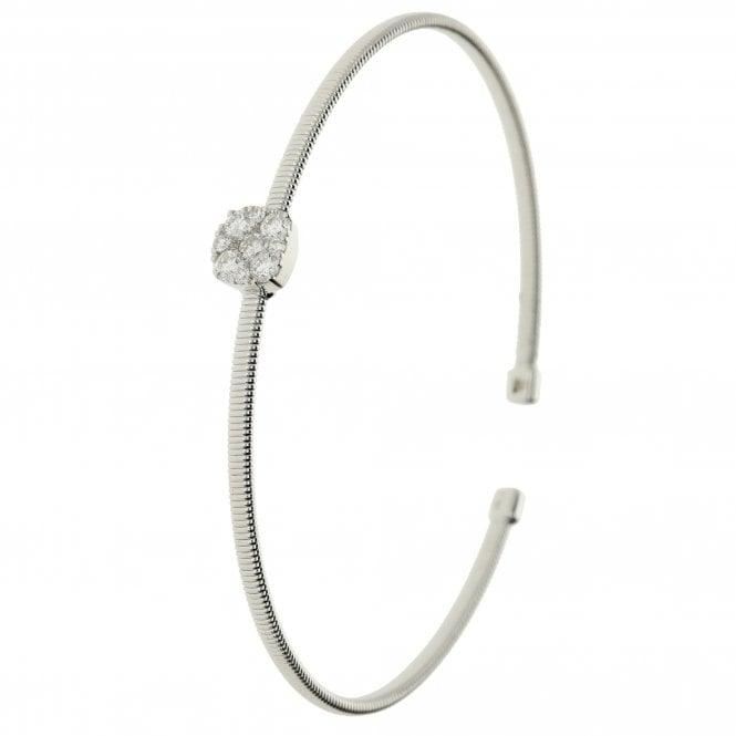 18ct White Gold Diamond Torque Bangle 0.53ct - 5.5g