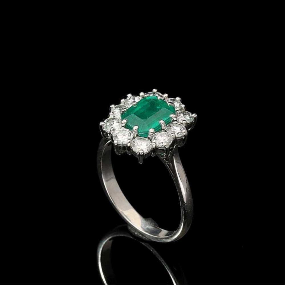 ef8423e757512 Miltons Diamonds 18ct White Gold Emerald and Diamond Cluster - 1.30ct  Diamonds