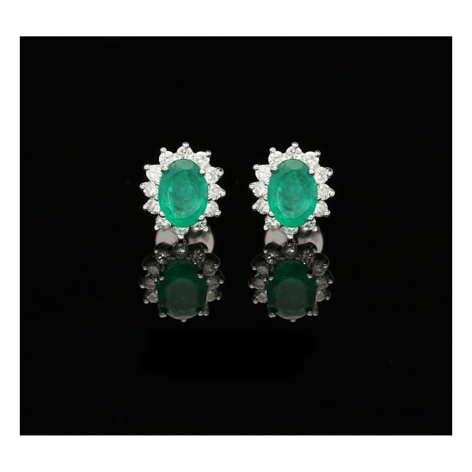 Miltons Diamonds 18ct White Gold Emerald and Diamond Cluster Earrings