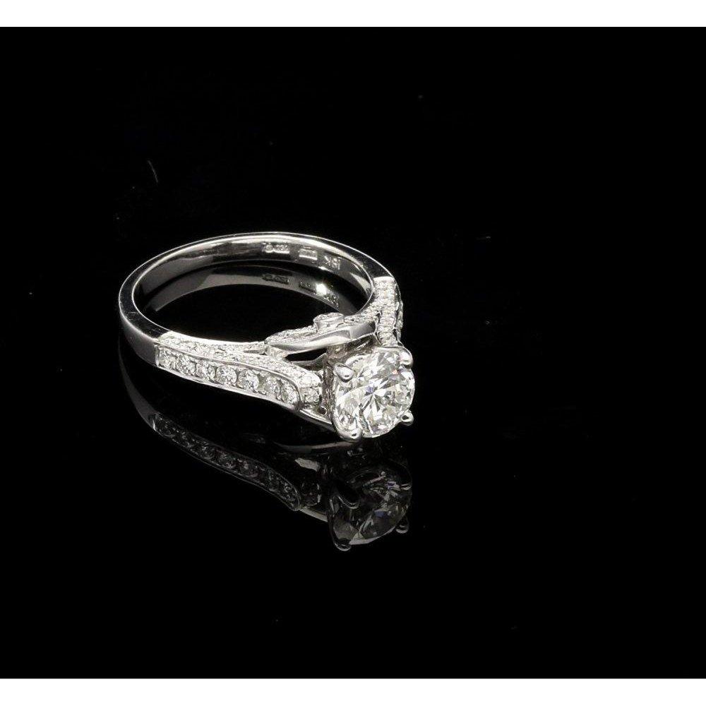 P1 P2 Diamond: New 18ct White Gold Fancy Diamond Engagement Ring 1.00ct