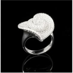 18ct White Gold Pave Diamond Heart