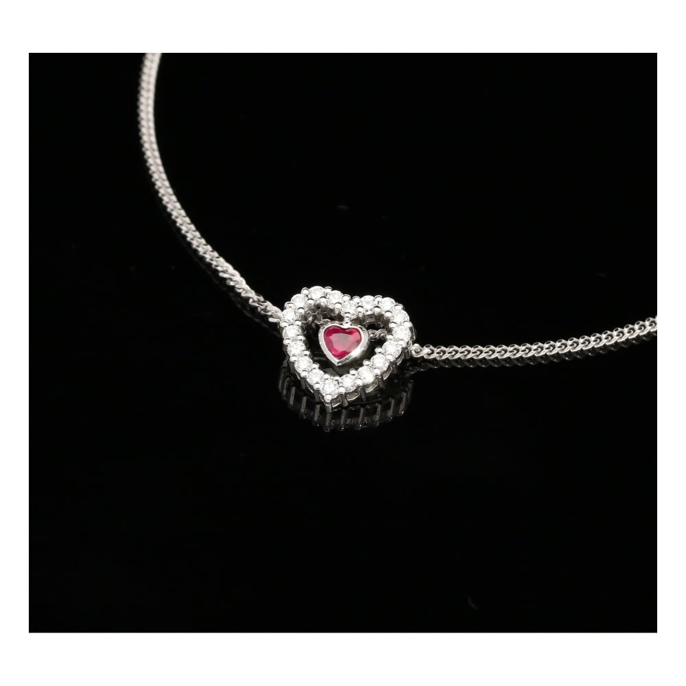 2ad29d578b58 Secondhand White Gold Ruby   Diamond Heart Pendant   Chain