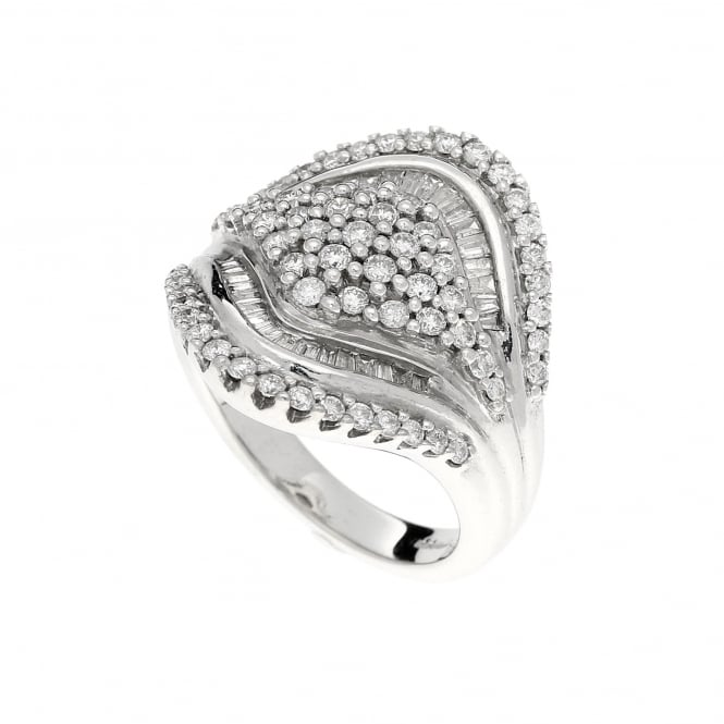 Miltons Diamonds 18ct White Gold Saddle Style Diamond Cluster Ring 1.25ct