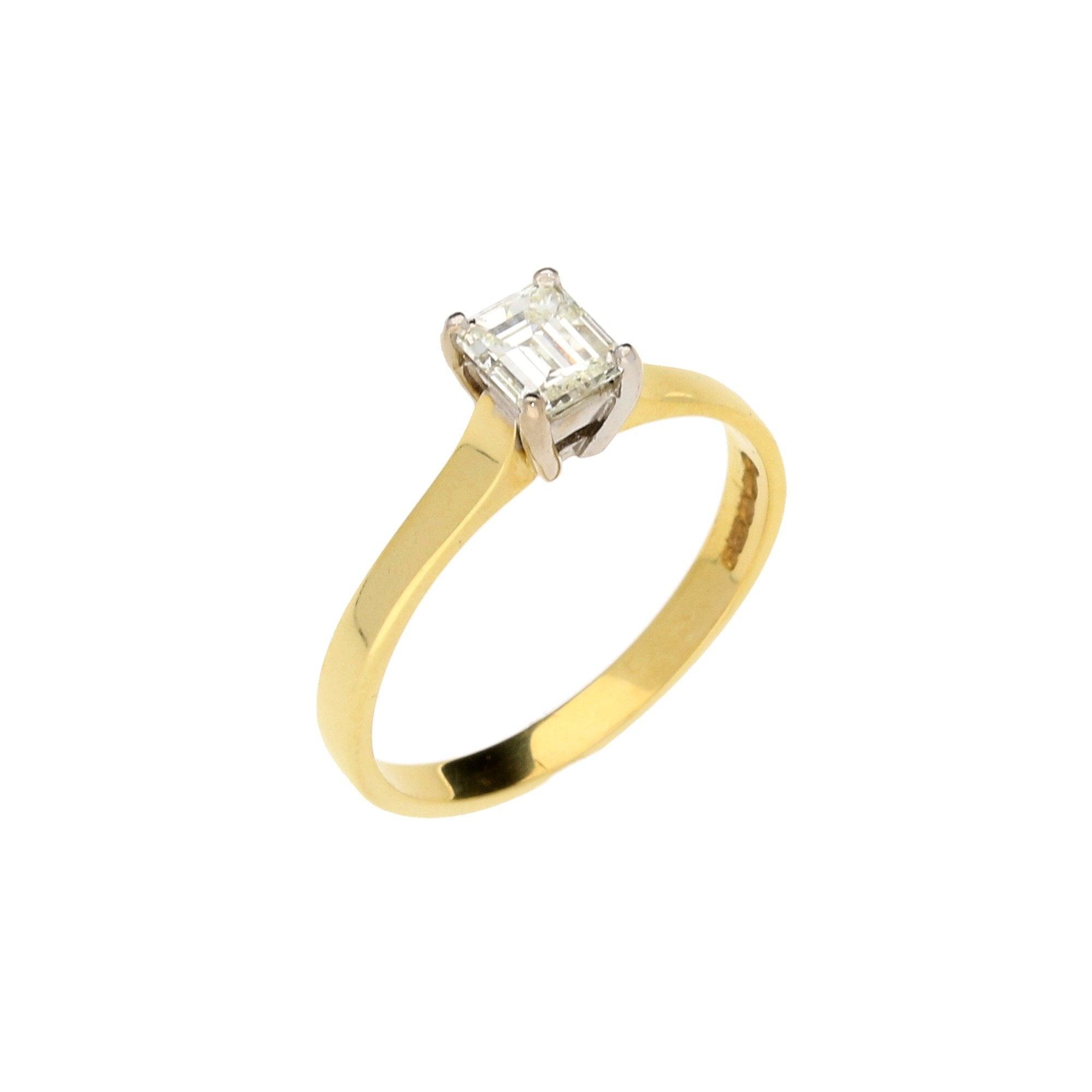18ct Yellow Gold 0 54ct Emerald Cut Diamond Engagement Ring Miltons Diamonds