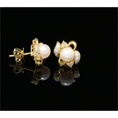 18ct Yellow Gold Diamond & Pearl Earrings