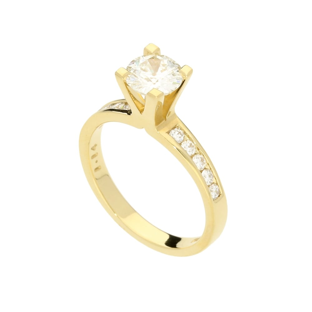3b800c1c6115f1 18ct Yellow Gold Engagement Ring With Diamond Shoulders - 1.44ct ...