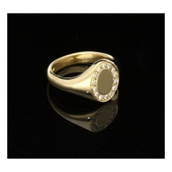 18ct Yellow Gold Men's Signet Ring - 0.28ct Diamonds