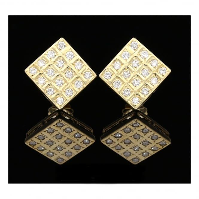 Miltons Diamonds 18ct Yellow Gold Square Diamond Earrings - 0.96ct