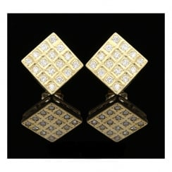 18ct Yellow Gold Square Diamond Earrings - 0.96ct