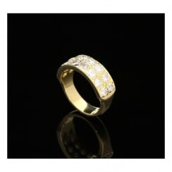 18ct Yellow Gold Two Row Diamond Ring - 2.08ct