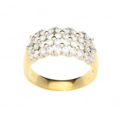 2.02ct Yellow Gold 40 Stone Diamond Cluster Ring