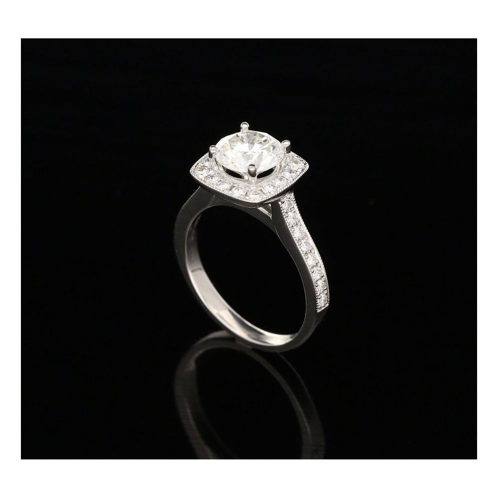 2 06ct Diamond Halo Engagement Ring 18ct White Gold