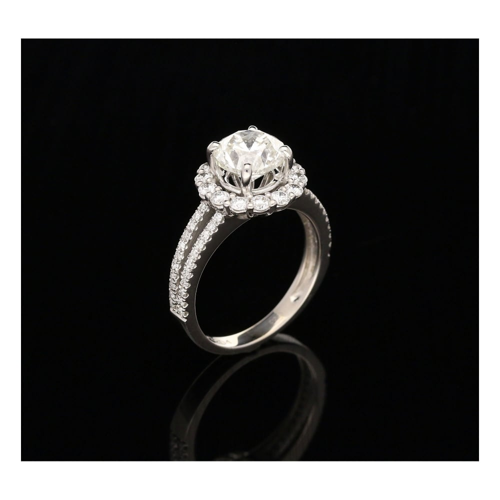 2 47ct Diamond Halo Engagement Ring 18ct White Gold