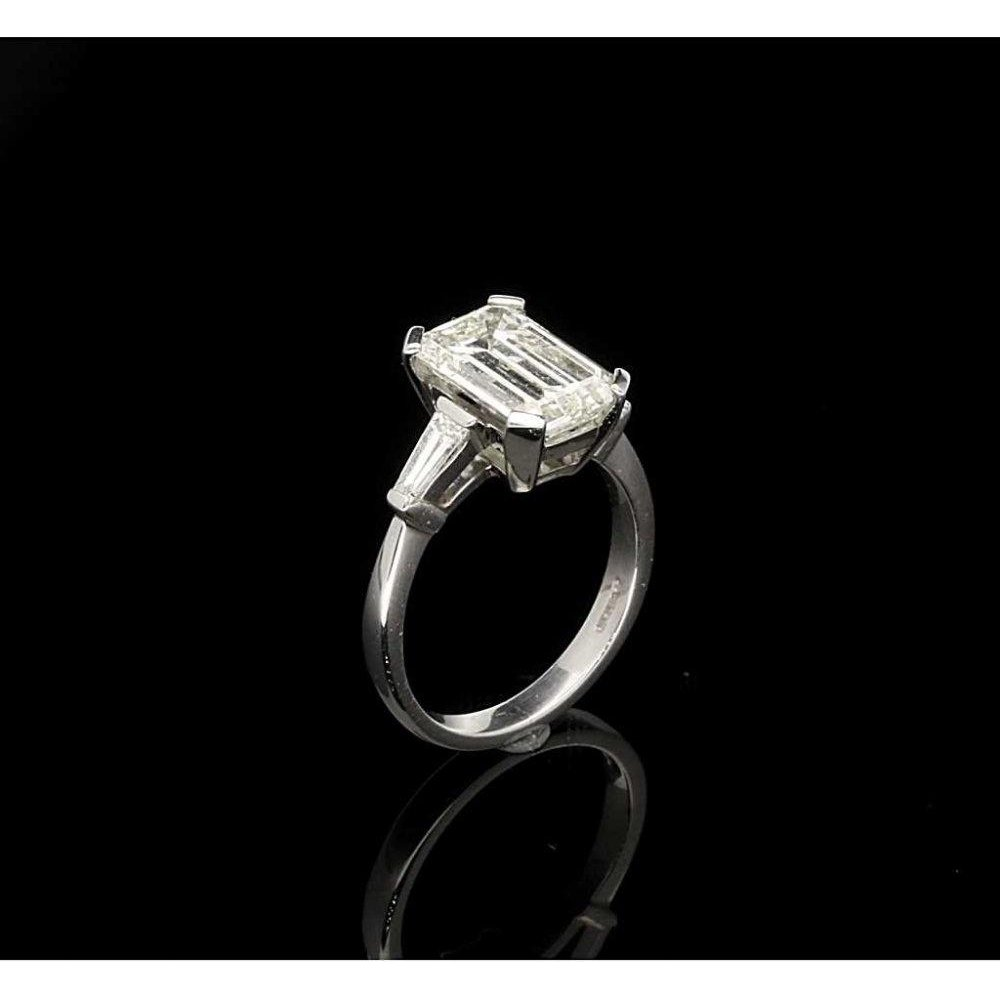 Second Hand Platinum Emerald Cut Diamond Engagement Ring