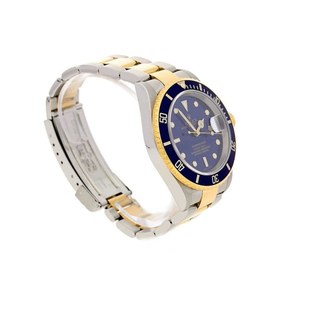 2005 rolex submariner date blue dial and bezel watch 16613 for Submarine watches