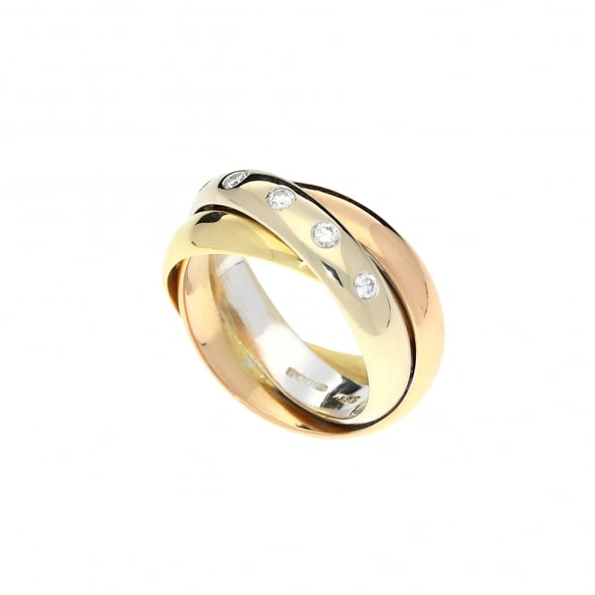 Miltons Diamonds 3 Colour 18ct Gold Diamond Russian Wedding Style Ring - 0.18ct