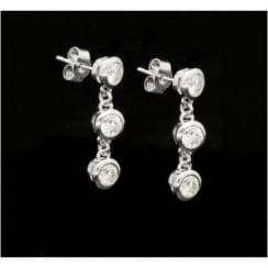 3 Stone Diamond Drop Earrings 18ct White Gold